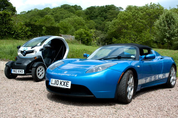 Tesla and Twizy at Westview Guesthouse